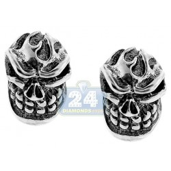 Womens Vintage Skull Stud Earrings Oxidized 925 Sterling Silver