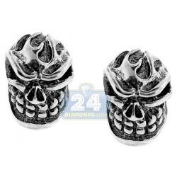 925 Oxidized Sterling Silver Vintage Skull Womens Stud Earrings
