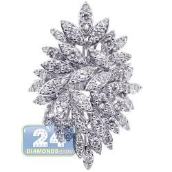 18K White Gold 2.07 ct Diamond Womens Flower Ring