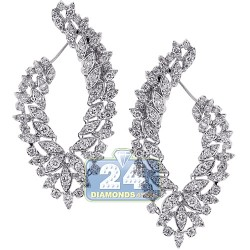 18K White Gold 4.55 ct Diamond Womens Flower Dangle Earrings