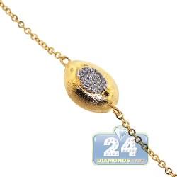 "Womens Diamond Bead Station Necklace 18K Three Tone Gold 30"""