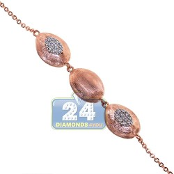 18K Rose Gold 0.65 ct Diamond Bead Womens Necklace 27 3/4 Inches