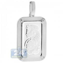 PAMP Suisse 5 Gram Fine Silver Fortuna Bar Diamond Frame Pendant