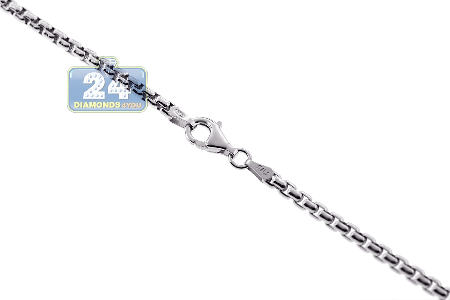 925 Silver Round Box Mens Chain 22 Mm 16 18 20 24 26 30 Inch