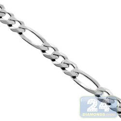925 Sterling Silver Figaro Solid Link Mens Chain 5 mm