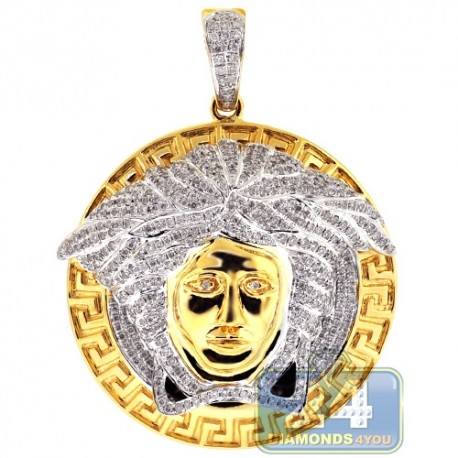 Mens Diamond Medusa Head Round Pendant 14K Yellow Gold 1.11ct