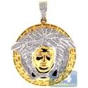 14K Yellow Gold 1.11 ct Diamond Medusa Head Round Pendant