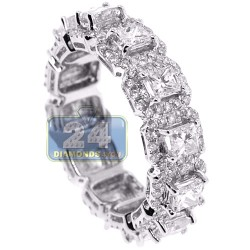 Womens Princess Diamond Halo Eternity Ring 18K White Gold 3.44 ct