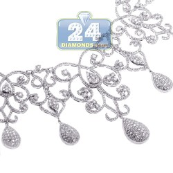 Womens Diamond Art Deco Drop Necklace 18K White Gold 12.05ct 18""