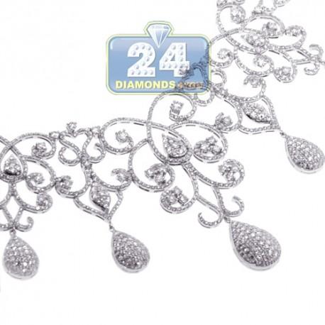 "Womens Diamond Art Deco Drop Necklace 18K White Gold 12.05ct 18"""