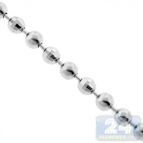 925 Silver Diamond Cut Ball Mens Chain 4 mm 22 24 26 28 30 36 inch