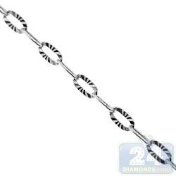 Sterling Silver Fancy Diamond Cut Link Womens Chain 3 mm