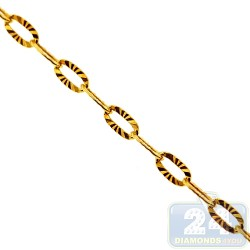 Yellow Gold Silver Fancy Diamond Cut Link Womens Chain 3 mm