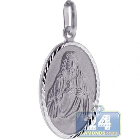 Italian Sterling Silver Jesus Christ Oval Medallion Pendant