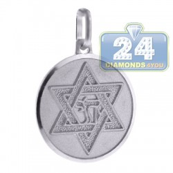 Italian Sterling Silver Star of David Jewish Round Pendant