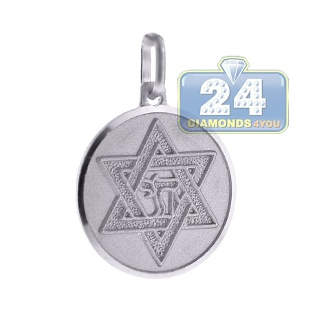 Sterling Silver Star Of David Jewish Round Medallion Pendant