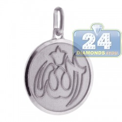 Italian Sterling Silver Allah Islamic Round Pendant