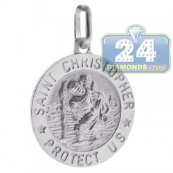 Italian Sterling Silver St. Christopher Protect Us Medallion