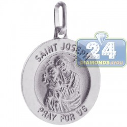 Italian Sterling Silver St. Joseph Pray For Us Medallion Pendant