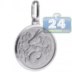 Italian Sterling Silver Capricorn Zodiac Sign Round Pendant