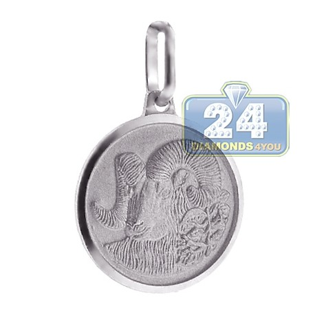 Aries Zodiac Sign Round Medallion Pendant 925 Sterling Silver
