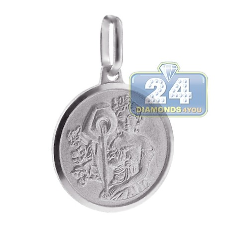 925 Sterling Silver Virgo Zodiac Sign Round Medallion Pendant