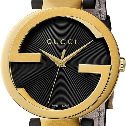 Gucci Interlocking Latin Grammy Mens Gold Steel Watch YA133208