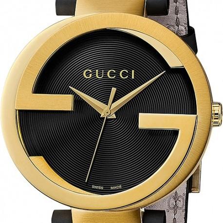 Gucci Interlocking Latin Grammy Mens Gold Steel Watch YA133208