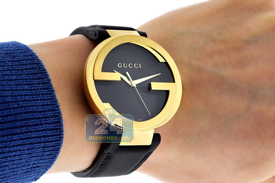 7db1e4ca648 Gucci Interlocking Latin Grammy Mens Gold Steel Watch YA133208