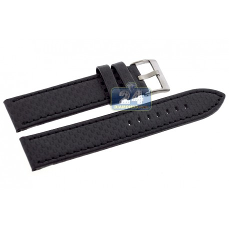 Hadley Roma Carbon Black Stitch Leather Watch Band 22 mm MS847