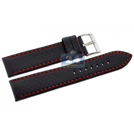 Hadley Roma Carbon Red Stitch Leather Watch Band MS847