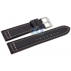 Hadley Roma Black Saddle Leather Watch Band 22 mm MS851