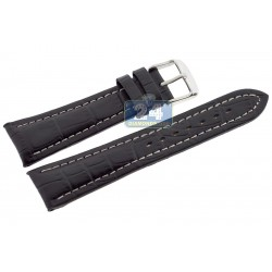 Hadley Roma Black Calfskin Leather Watch Band 22 mm MS895