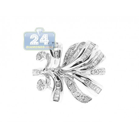 14K White Gold 0.50 ct Mixed Round Baguette Cut Diamond Womens Leaf Ring