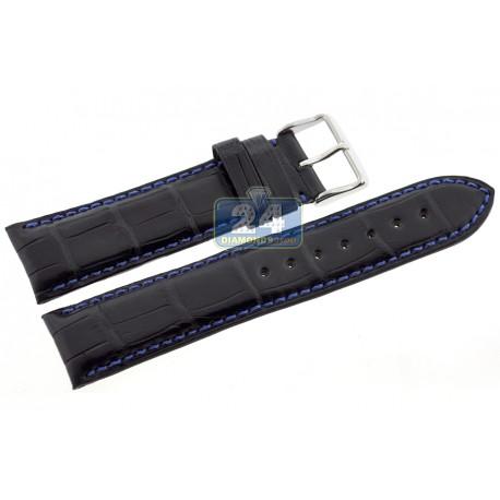 Hadley Roma Blue Stitch Alligator Leather Watch Band 22 mm MS2024