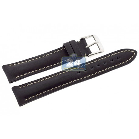 Hadley Roma Black Genuine Leather Watch Band MSM891