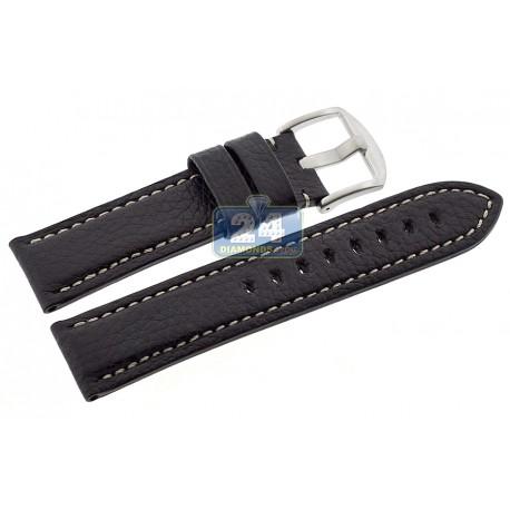 Hadley Roma Black Calfskin Leather Watch Strap 22 mm MS2036