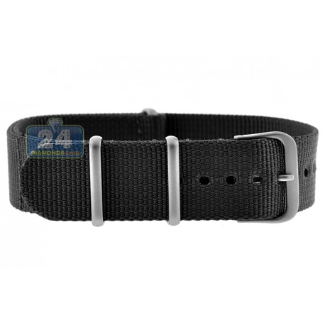 Hadley Roma Black Nylon One Piece Watch Band 20 22 mm MS4210