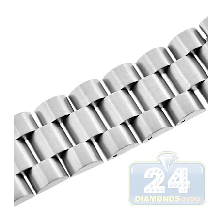 Hadley Roma Satin Wide Link Steel Watch Band 24 mm MB9036W
