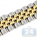 Hadley Roma Two Tone Solid Link Steel Watch Band MB4217-T