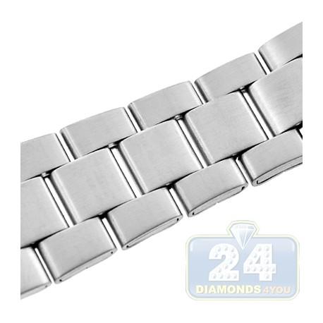 Hadley Roma Satin Link Steel Watch Band MB5916-W