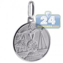Italian Sterling Silver Libra Zodiac Sign Round Pendant