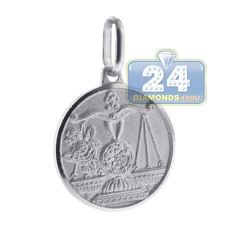 Sterling Silver Libra Zodiac Sign Round Medallion Pendant