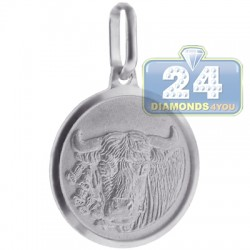Sterling Silver Taurus Zodiac Sign Round Medallion Pendant