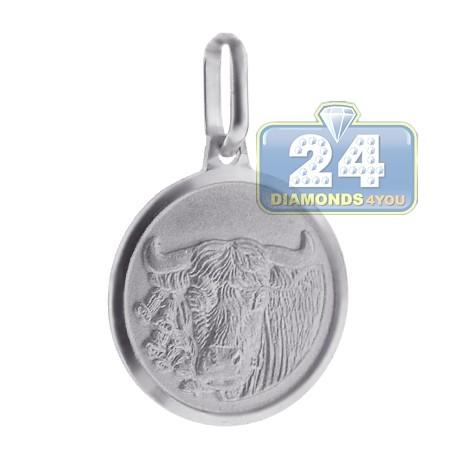 Sterling Silver Taurus Zodiac Sign Round Medallion Pendant