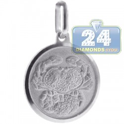 Italian Sterling Silver Cancer Zodiac Sign Round Pendant