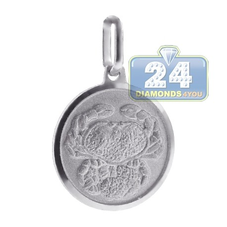 Sterling Silver Cancer Zodiac Sign Round Medallion Pendant
