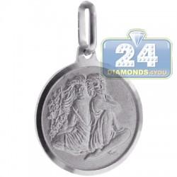 Italian Sterling Silver Gemini Zodiac Sign Round Pendant