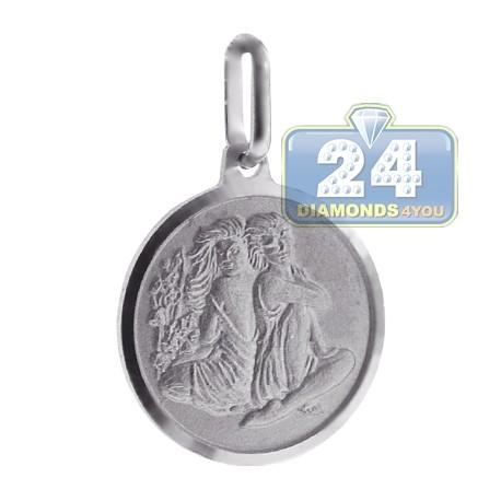 Sterling Silver Gemini Zodiac Sign Round Medallion Pendant