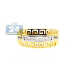 14K Yellow Gold 0.10 ct Diamond Womens Greek Band Ring